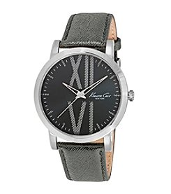 Kenneth Cole New York® Men's Stainless Steel Watch and Grey Leather Strap