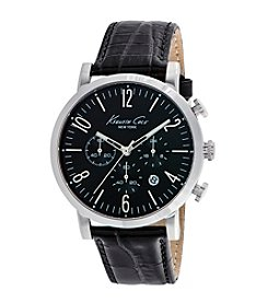 Kenneth Cole New York® Men's Stainless Steel Chronograph Watch with Black Leather Strap