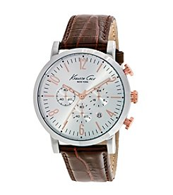 Kenneth Cole New York® Men's Two-Tone Chronograph Watch with Brown Leather Strap