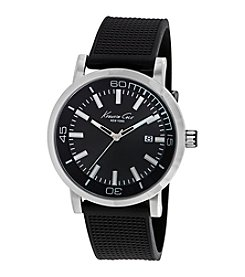 Kenneth Cole New York® Men's 3-Hand Watch with Black Silicon Strap