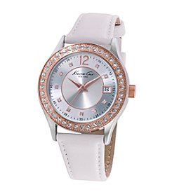 Kenneth Cole New York® Women's Classic Two-Tone Watch with White Leather Strap