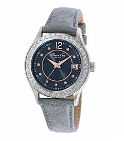 Kenneth Cole New York® Women's Classic Stainless Steel Watch with Grey Leather Strap