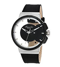 Kenneth Cole New York® Men's 3-Hand Transparent Watch with Black Leather Strap