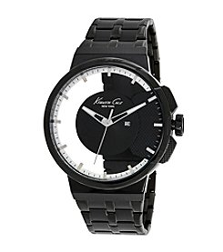 Kenneth Cole New York® Men's 3-Hand Transparent Watch with Black IP Bracelet