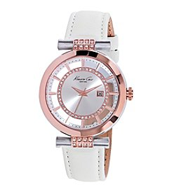 Kenneth Cole New York® Women's Transparent Two-Tone Watch with White Leather Strap