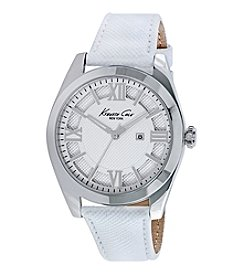 Kenneth Cole New York® Women's Classic Stainless Steel Watch with White Leather Strap