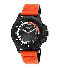 Kenneth Cole New York® Men's Transparent Stainless Steel Dial and Orange Silicon Strap