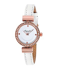 Kenneth Cole New York® Women's Classic Rose Goldtone Watch with White Strap
