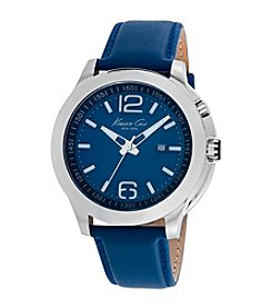 Kenneth Cole New York® Men's 3-Hand Watch with Blue LED Lights and Blue Leather