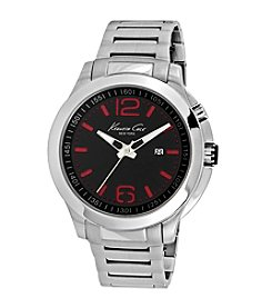 Kenneth Cole New York® Men's 3-Hand Stainless Steel Watch with Red LED Lights