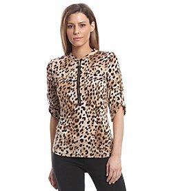 Calvin Klein Leopard Print Half Zip Top