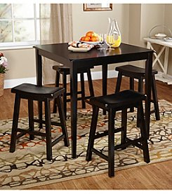 TMS 5-pc. Belfast Saddle Black Dining Set