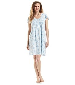 Miss Elaine® Blue Floral Nightgown