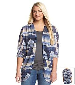 Eyeshadow® Plus Size Geo Print Kimono