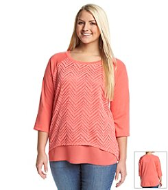 Eyeshadow® Plus Size French Terry Chevron Pullover