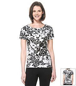 Rafaella® Graphic Beach Grommet Tee