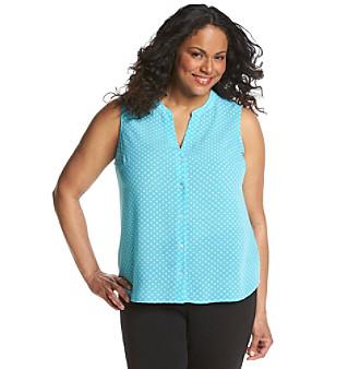 5a0fc3859bcc7 UPC 716356311027 product image for Jones New York Signature® Plus Size  Polka Dot Sleeveless Blouse ...