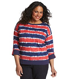 Jones New York Sport® Plus Size Roll Sleeve Top