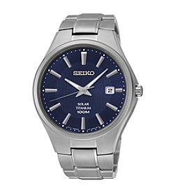 Seiko®  Men's Silvertone Titanium Solar Watch