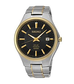 Seiko®  Men's Two-Tone Titanium Solar Watch