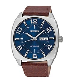 Seiko® Men's Blue Dial Brown Leather Strap Automatic Watch