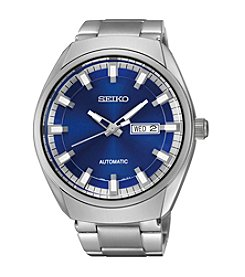 Seiko® Men's Silvertone Blue Dial Automatic Calendar Watch