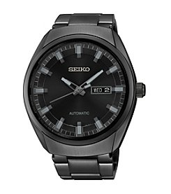 Seiko® Men's Black Ion Finish Automatic Date Calendar Watch