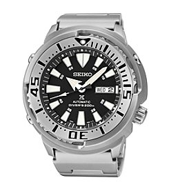 Seiko® Men's Silvertone Stainless Steel Automatic Diver Watch