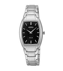 Seiko® Women's Silvertone Solar Bracelet Watch