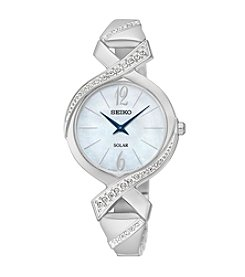 Seiko® Women's Silvertone Solar Crystal Watch