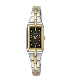 Seiko® Women's Two-Tone Black Dial Solar Dress Watch