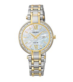 Seiko® Women's Tressia Two-Tone Diamond Bezel Dress Watch