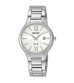 Seiko® Women's Silvertone Solar Calendar Watch