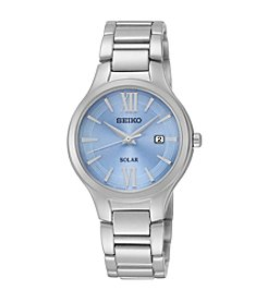 Seiko® Women's Blue Dial Solar Calendar Watch