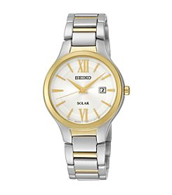 Seiko® Women's Two-Tone Solar Calendar Watch