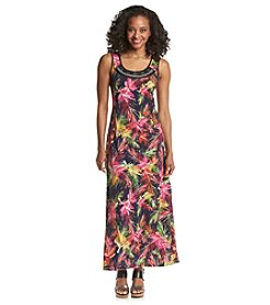 NY Collection Petites' Palm Print Maxi Dress
