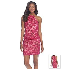 Xscape Halter Nude Blouson Dress