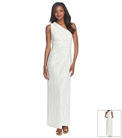 Nine West® One Shoulder Lace Gown