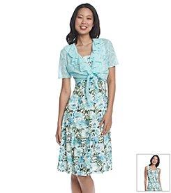 R&M Richards® Crochet Bolero Printed Dress