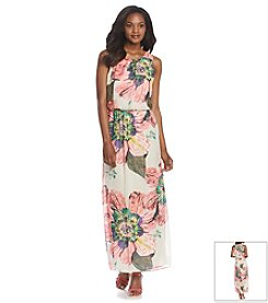 R&M Richards® Floral Chiffon Blouson Maxi Dress