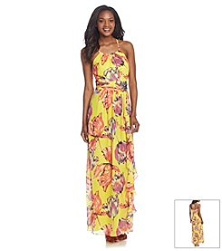 Nine West® Floral Ruffle Gown
