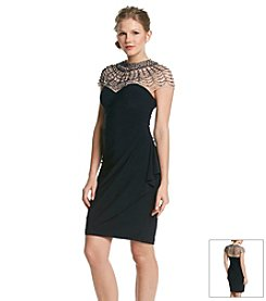 Xscape Beaded Illusion Top Dress