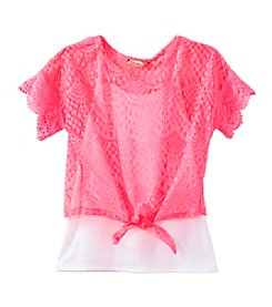 Speechless® Girls' 7-16 2-Piece Tie Front Lace Top