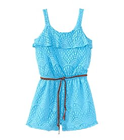 Speechless® Girls' 7-16 Belted Lace Romper
