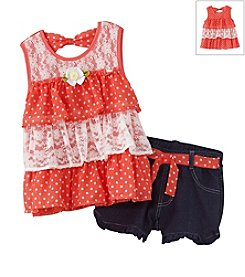 Nannette® Girls' 2T-6X Woven Blouse And Knit Shorts Set