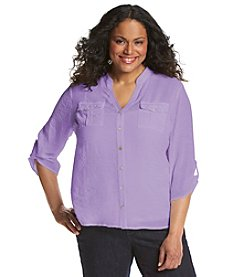 Notations® Plus Size Solid High-Low Lace Top
