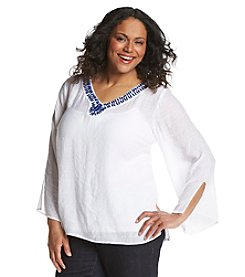 AGB® Plus Size Solid Gauze Beaded Peasant Top