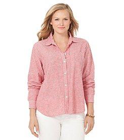 Chaps® Plus Size Striped Linen-Cotton Shirt