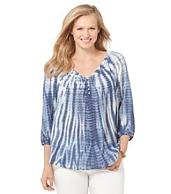 Chaps® Plus Size Tie-Dyed Gauze Boho Top