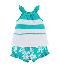 Chaps® Baby Girls' 2-Piece Floral Shorts Outfit Set